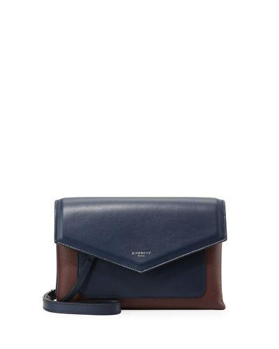 b38fc16163 Givenchy Duetto Two-Tone Smooth And Textured-Leather Shoulder Bag In Navy