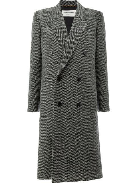 Saint Laurent Herringbone Wool-blend Coat In Gray
