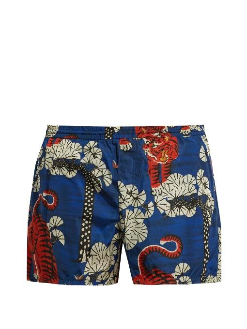 ca3471dec6 Gucci Bengal Print Swim Shorts In Blue | ModeSens