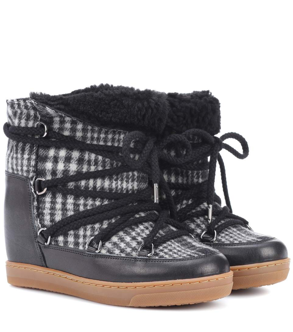 a2056eb778 Isabel Marant Nowles Shearling-Lined AprÈS-Ski Boots In Grey Multi ...