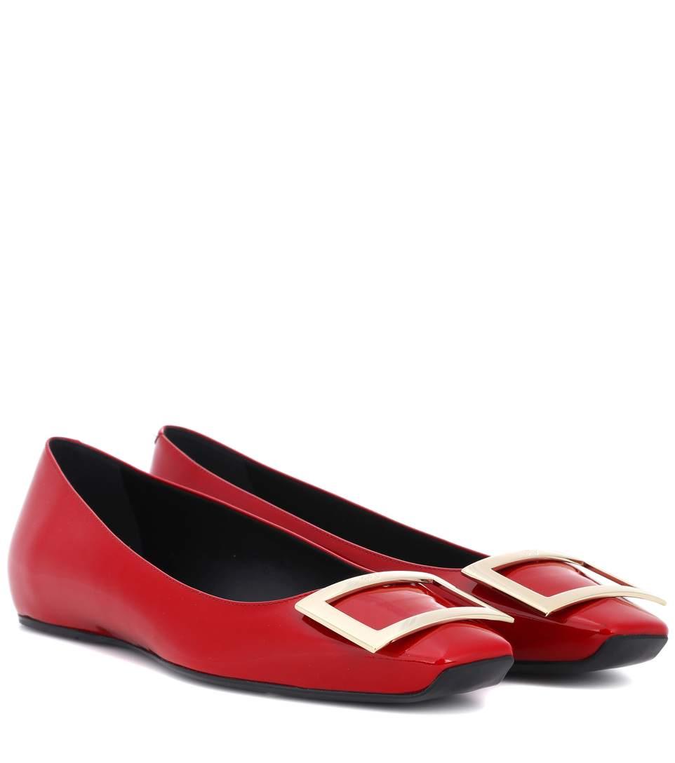 Roger Vivier Quadrata Trompette Patent Ballet Flats In Red