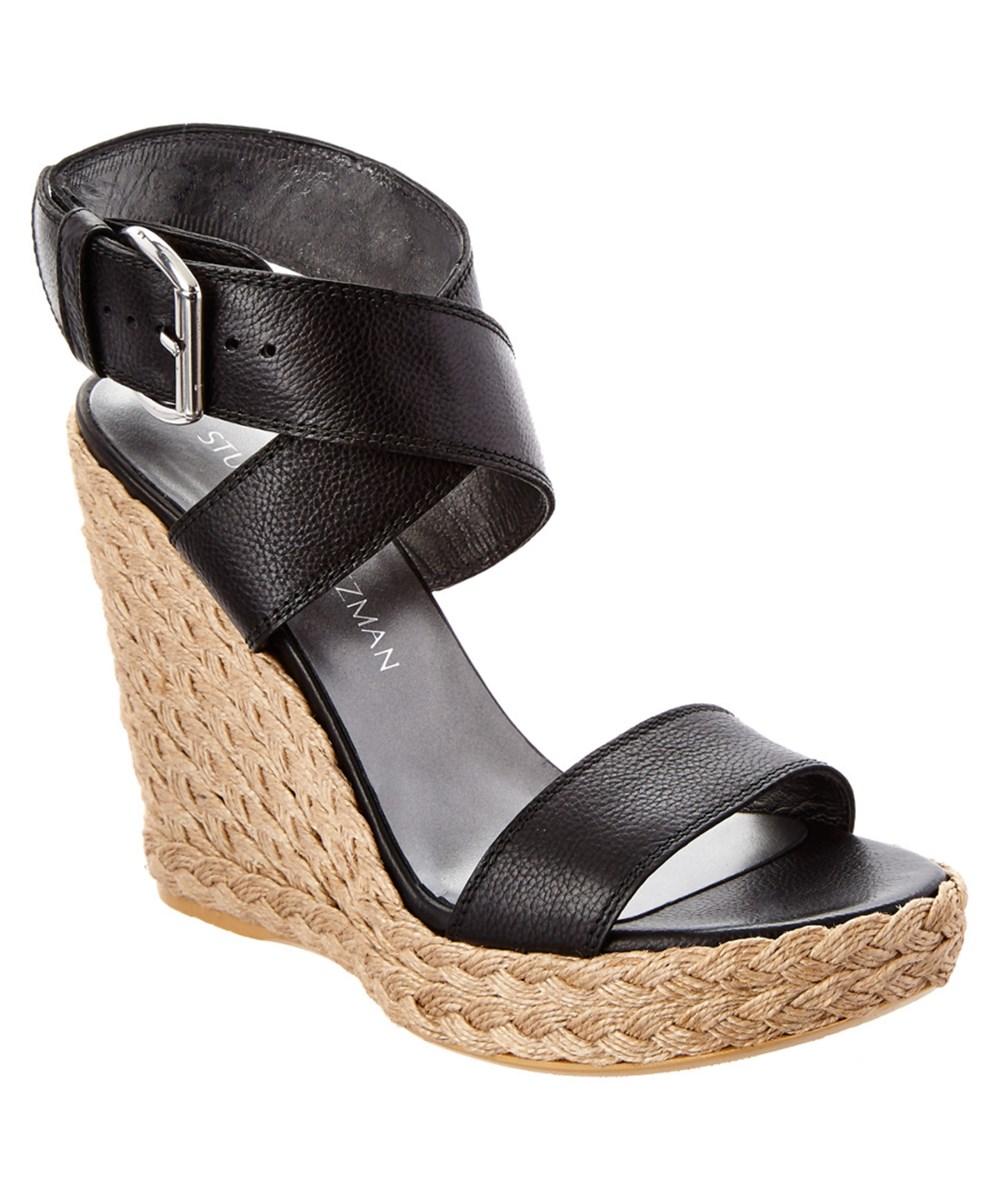 Stuart Weitzman Crossover Leather Wedge Sandal' In Black