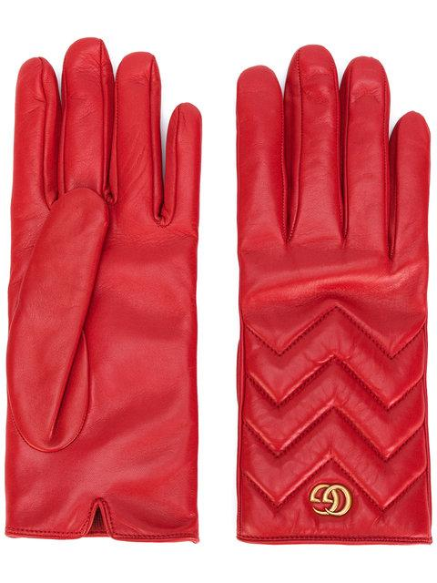 Gucci Gg Marmont Chevron Quilted Leather Gloves In 6400