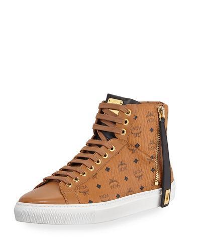 edec34c7229 Mcm Women s Visetos Zip High Top Sneakers In Black In Co