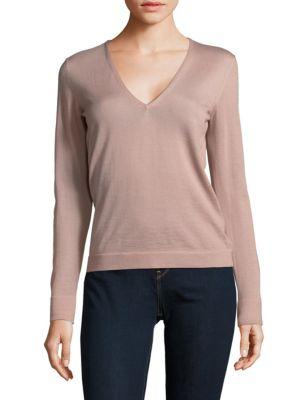 Tom Ford Fine Cashmere V-Neck Long Sleeve Top In Nude
