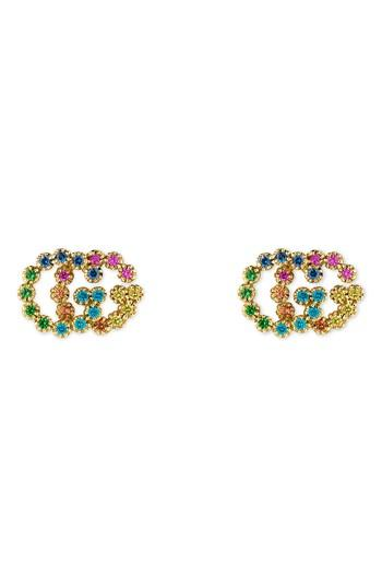 c88f8a3a8a3 Gucci 18K Yellow Gold Running G Mixed Gemstone Stud Earrings In Multicolor