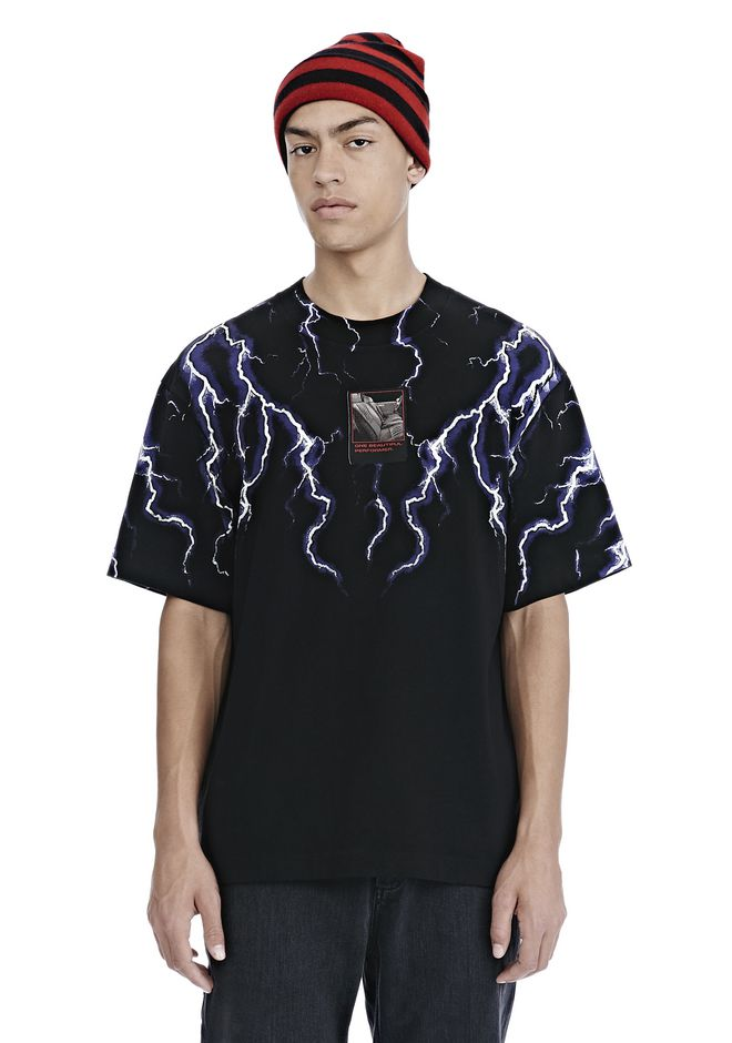 10a0fb2b9 Alexander Wang Lightning-Print Oversized Cotton T-Shirt In Black ...