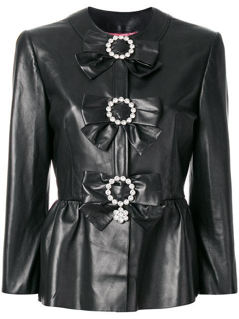 Gucci PlongÈ Leather Peplum Jacket In Black