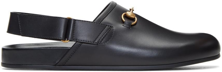 Gucci River Horsebit Leather Slipper In Black