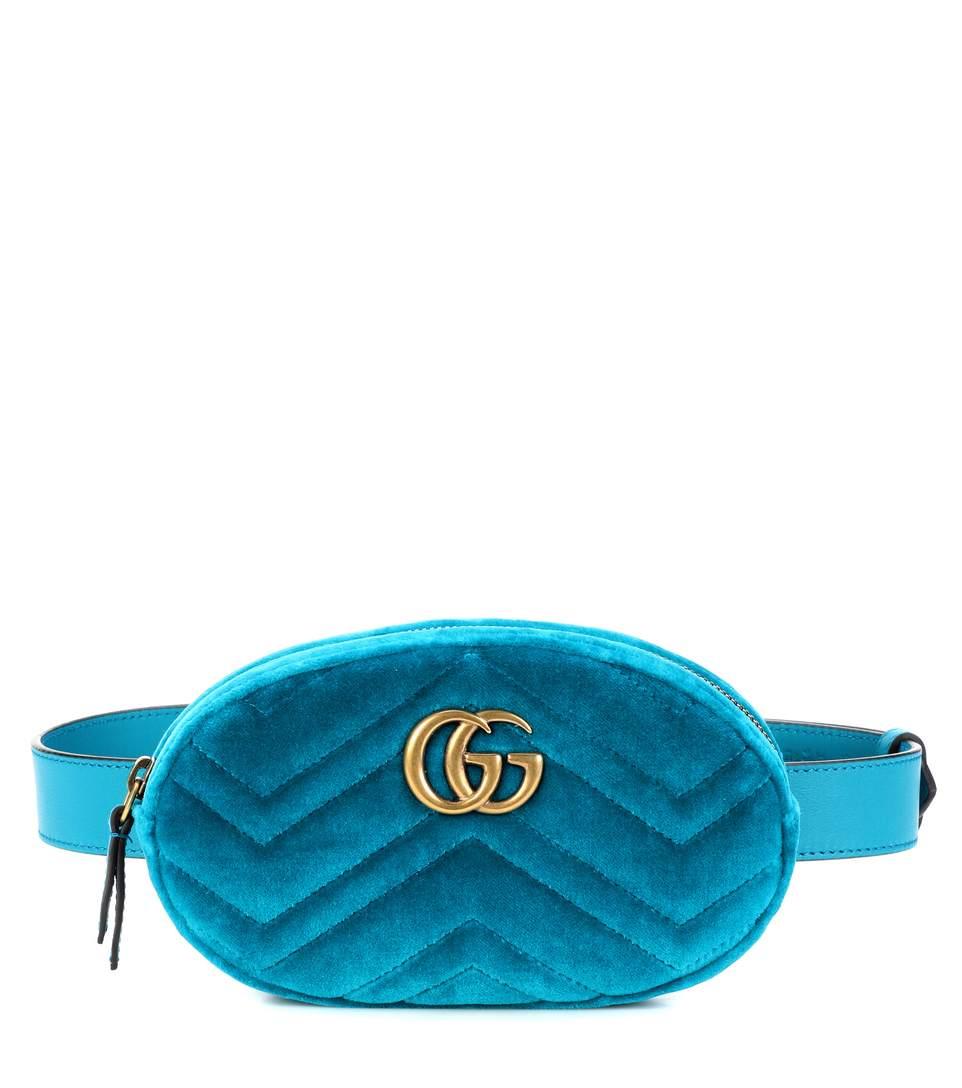 d94fc52933 Gucci Gg Marmont MatelassÉ Velvet Belt Bag In Blue   ModeSens