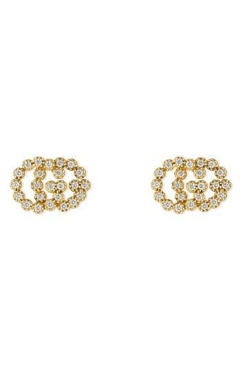6747aea2968 Gucci 18K Yellow Gold Running G Diamond Stud Earrings In Platinum ...