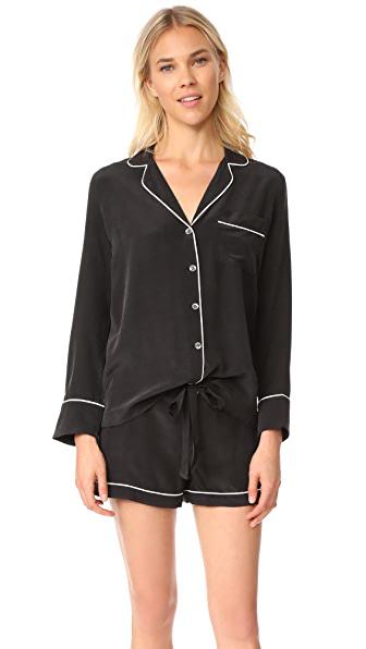 Equipment Lillian Silk Short Pajamas In True Black