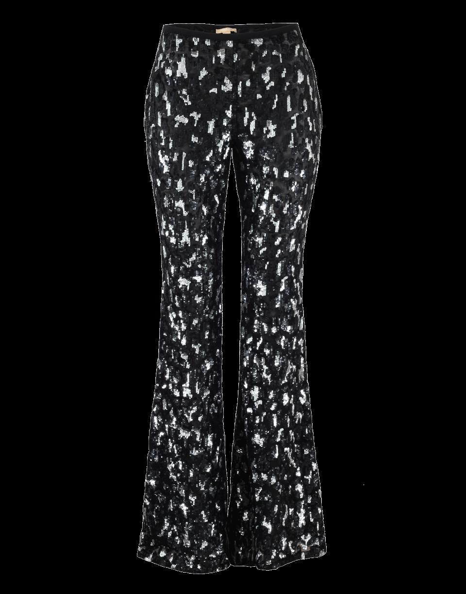 Michael Kors Leopard Embroidered Flare Pant In Blk-slvr