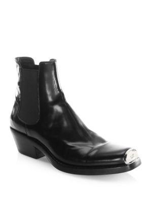 da61e135221 Calvin Klein 205W39Nyc Claire Metal-Trimmed Glossed-Leather Ankle ...