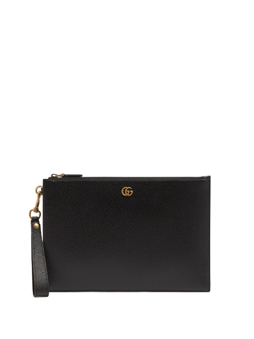 e65c2a0710cc Gucci Gg Marmont Grained-Leather Pouch In 1000 Black | ModeSens