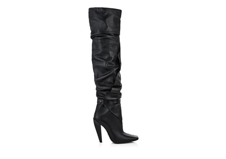 80f69017db777 Tom Ford Patent Leather Square Toe Cap Over The Knee Boot In Black ...