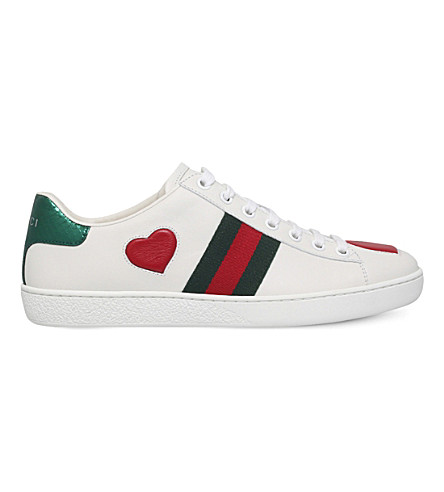 801dc0d3035 Gucci Ace Snakeskin-Trimmed Leather Sneakers In White