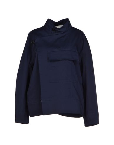 Marni Double Breasted Pea Coat In Dark Blue