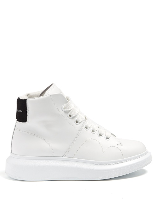 f99d275afc73 Alexander Mcqueen  Larry  Chunky Outsole Leather High Top Sneakers In White