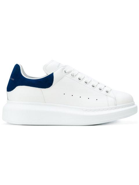 Alexander Mcqueen 'Oversized Sneaker' In Leather With Suede Collar In 9086 Blanc/Bleu