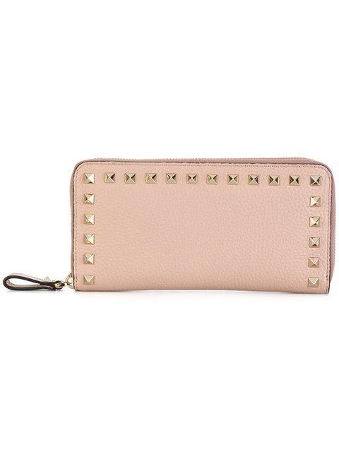 Valentino Garavani Rockstud Leather Continental Wallet In Pink