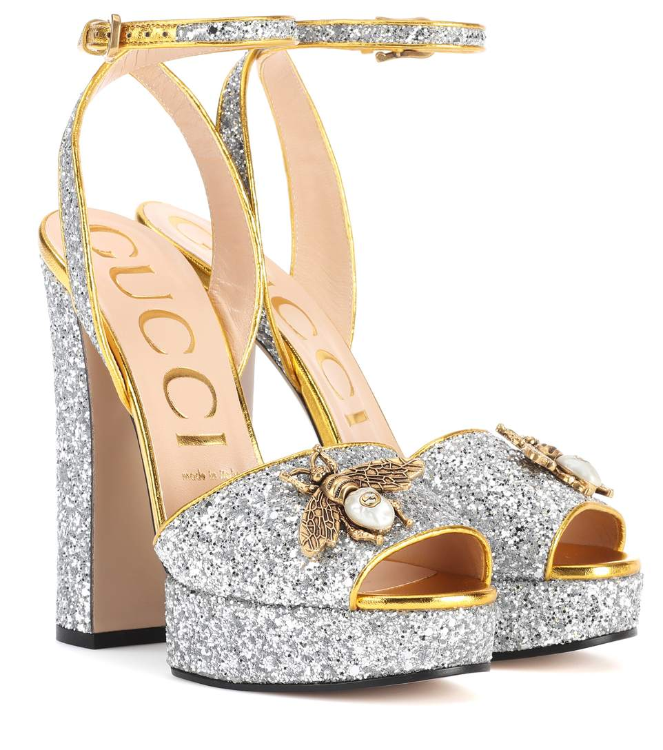 52d484687 Gucci Soko Glittered Ankle-Wrap Platform Sandal, Silver | ModeSens