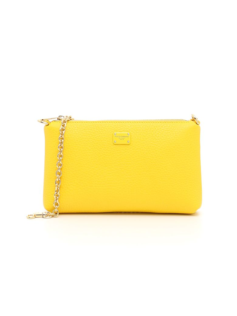 Dolce & Gabbana Small Pink Zip Pouch In Giallo Sole|giallo
