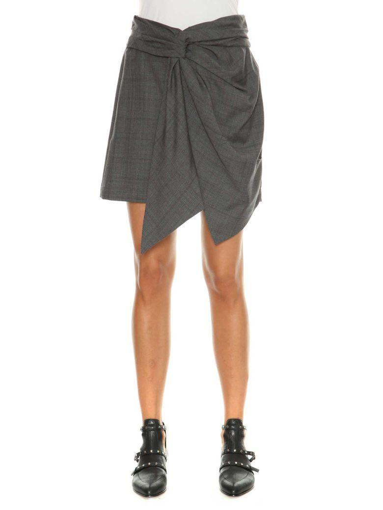 Etoile Isabel Marant Nima Short Skirt With Drapery In Grey