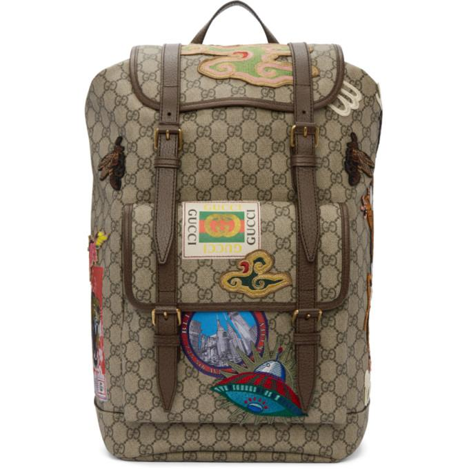 f718c2725bdd31 Gucci Leather-Trimmed AppliquÉD Monogrammed Coated-Canvas Backpack In  Multicolour