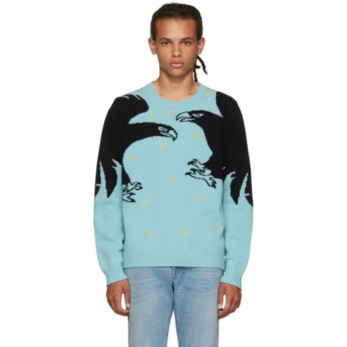 44ac11868 Gucci Eagle-Intarsia Embroidered Wool Sweater In Turquoise-Blue ...