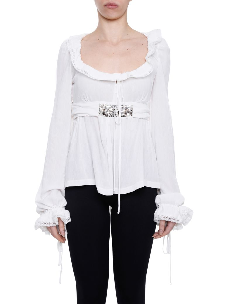 Amen Frilled Blouse In Off White|bianco