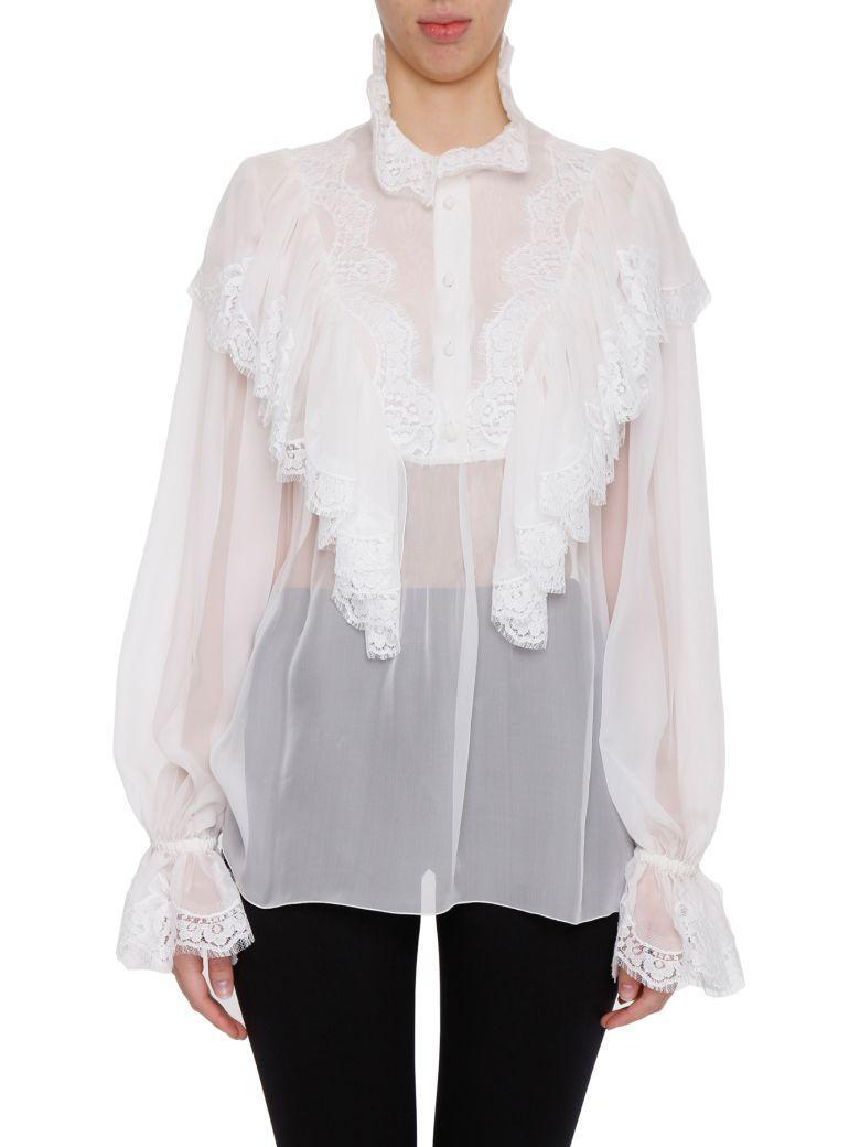 Dolce & Gabbana Ruffled Silk Chiffon & Lace Shirt, White