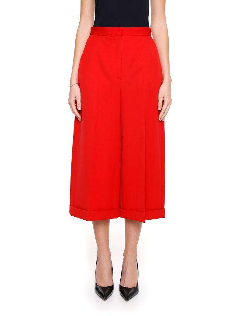 Alexander Mcqueen Virgin Wool Grain De Poudre Culottes In Red