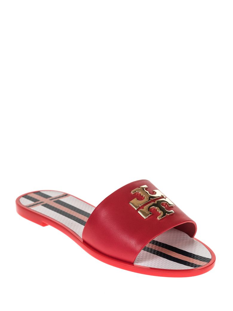 bcc2e5f174e Tory Burch Logo Metallic Jelly Slide In Nantucket Red