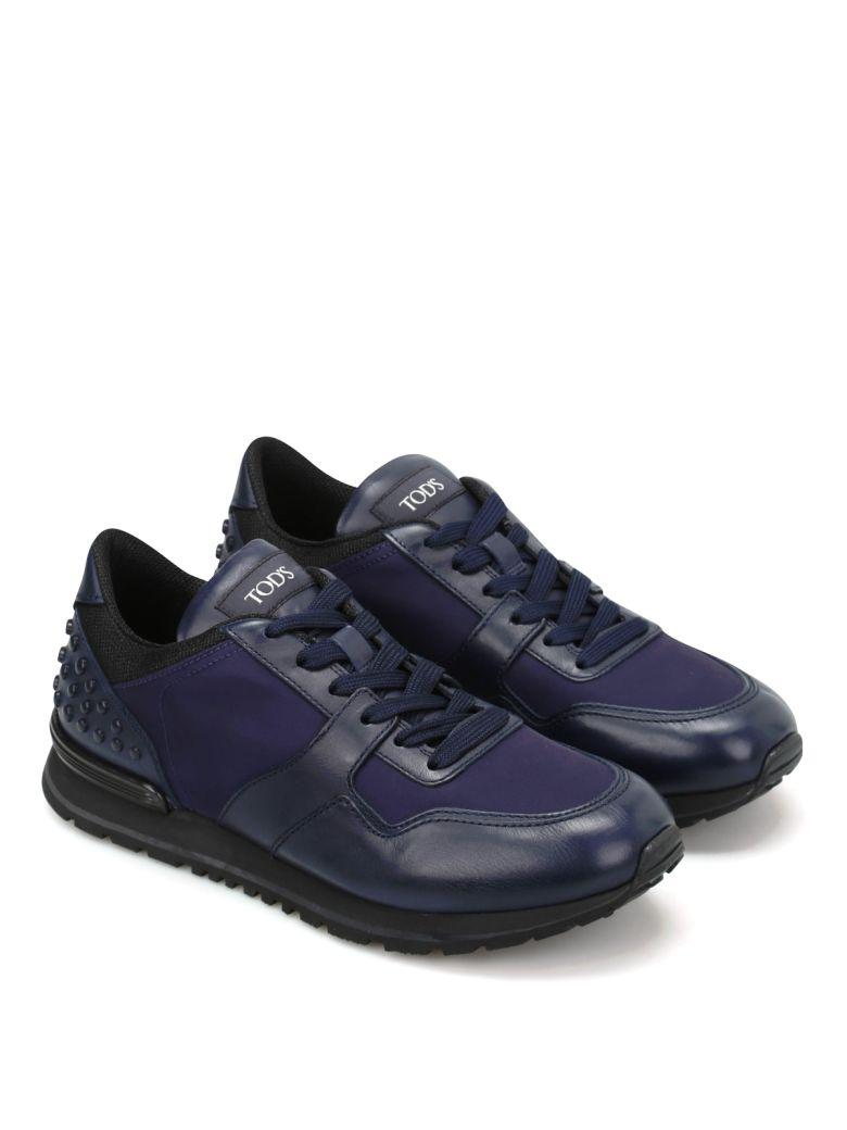 Tod's Sneakers In Leather And High Tech Fabric In Galassia + Mora Scura