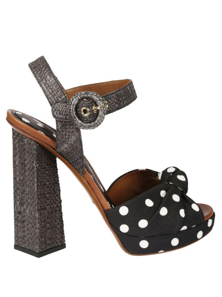 900a57a65c Dolce & Gabbana Woman Polka-Dot Canvas And Raffia Sandals Black ...