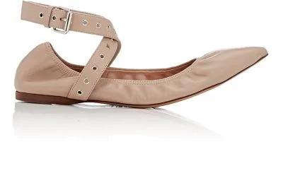 44224b9fdd526 Valentino Love Latch Point-Toe Leather Ballet Flats In Powder   ModeSens