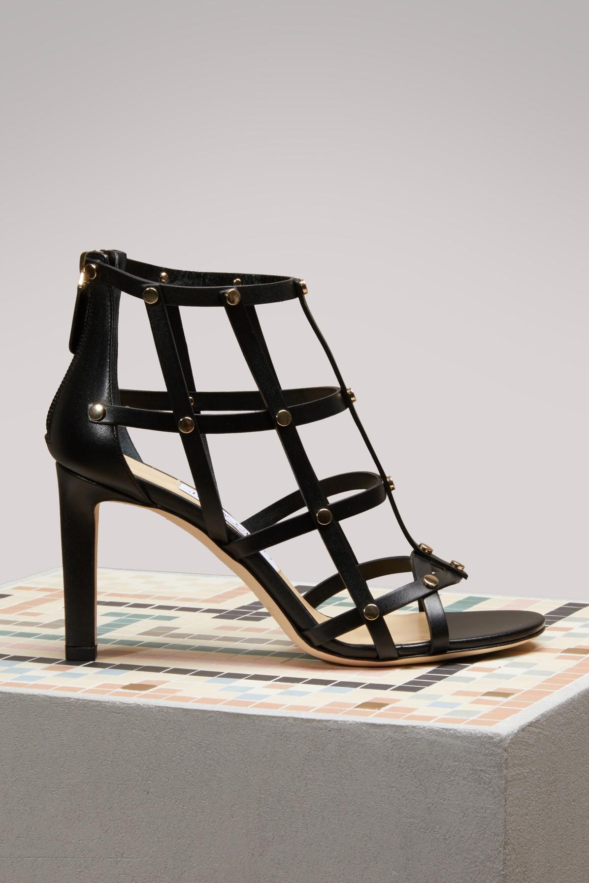 622fdf481d2 Jimmy Choo Tina 100 Black Calf Leather Sandals With Light Gold Studs In  Black Light