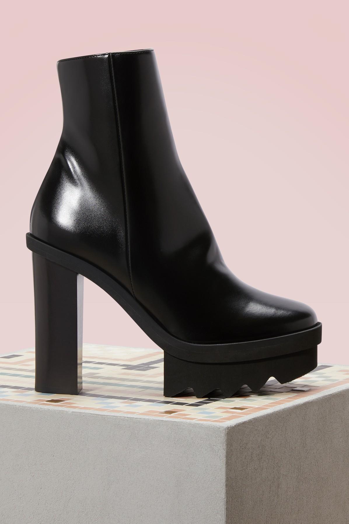 fc2f681efc40 Stella Mccartney Woman Faux Leather Platform Ankle Boots Black In 1000 -  Black