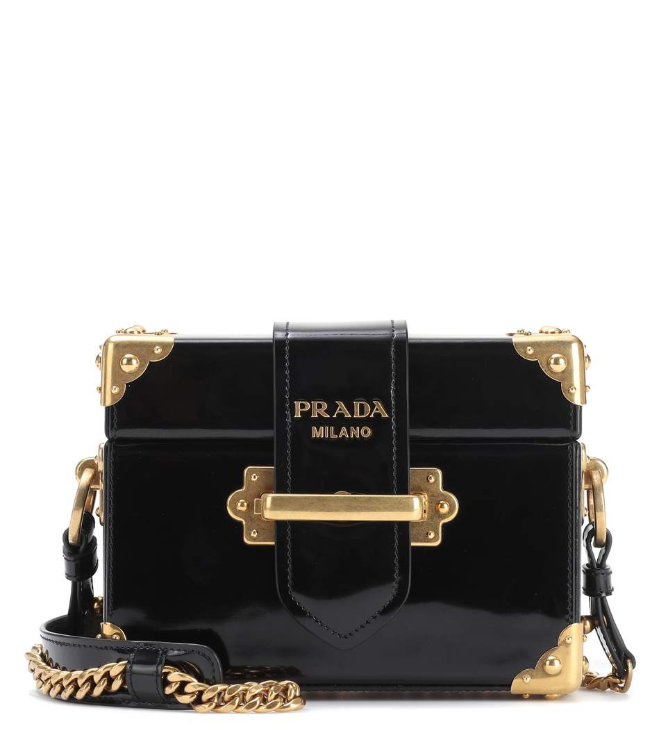 71a41dfec72f Prada Cahier Box Patent-Leather Shoulder Bag In Black | ModeSens