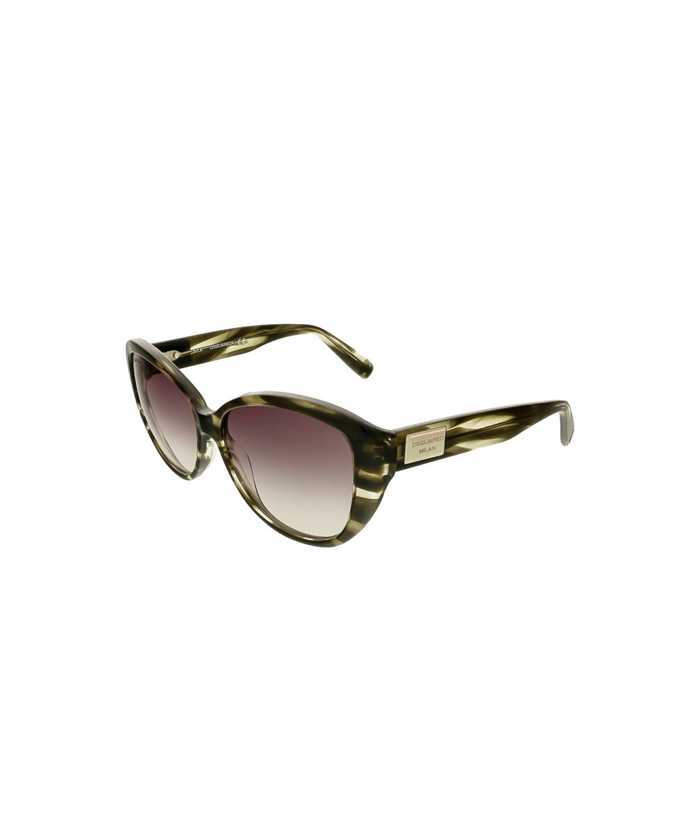 Dsquared2 Dq0128/s 20b Olive Horn Cat Eye In Green