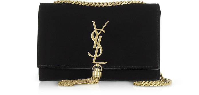 8653652c0c7 Saint Laurent Sunset Monogram Ysl Small Velvet Chain Crossbody Bag In Black