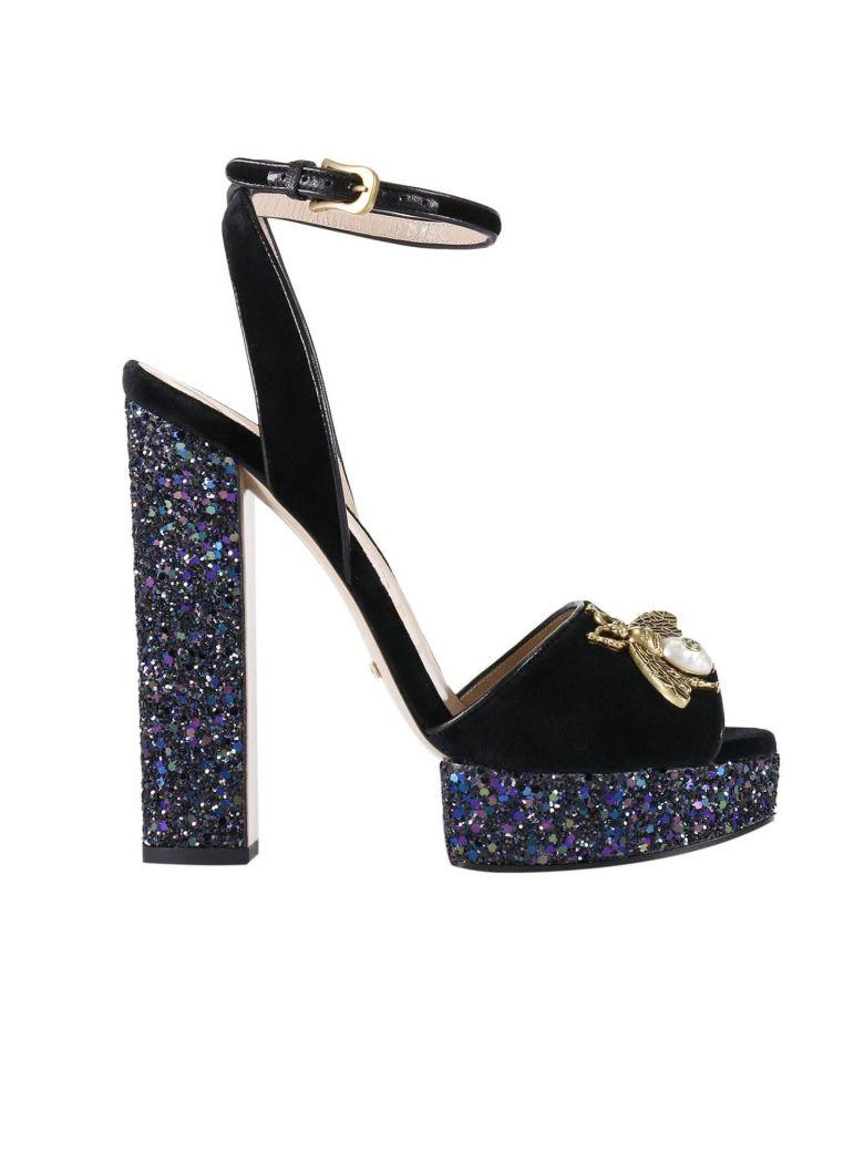 ba4d715db3f Gucci Heeled Sandals Soko Sandals In Soft Velvet With Applied Metal Bee And  Maxi Glitter Heels