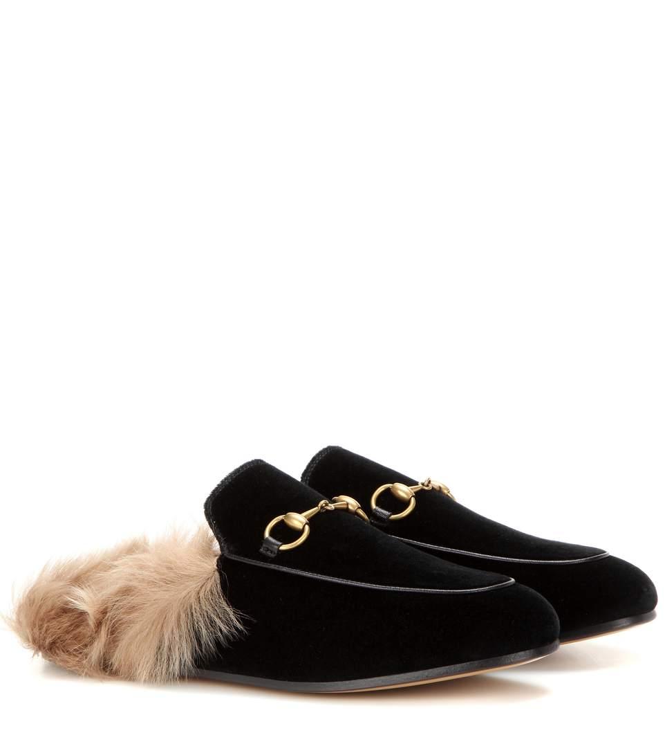 Gucci Princetown Horsebit-Detailed Shearling-Lined Velvet Slippers In Black