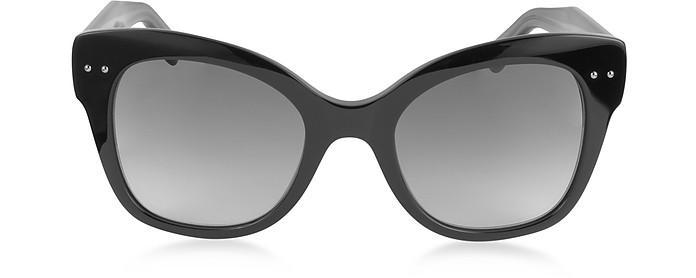 Bottega Veneta Bv0083s Acetate Cat Eye Women's Sunglasses In Black/shaded Grey