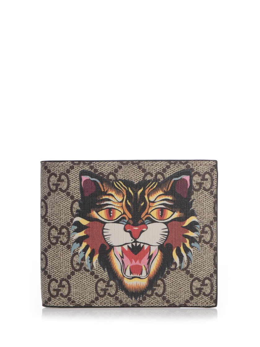 a76721d360e6 Gucci Angry Cat Printed Coated-Canvas And Leather Billfold Wallet In Beige  Multicolor