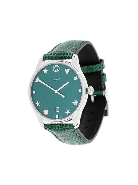 ab3f58f83e7 Gucci Ya126584 G-Timeless Mother-Of-Pearl And Lizard-Leather Strap Quartz