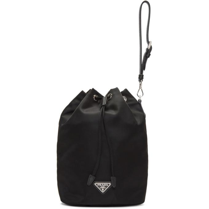 b2ba8d102560 Prada Leather-Trimmed Drawstring Nylon Wash Bag In Black | ModeSens