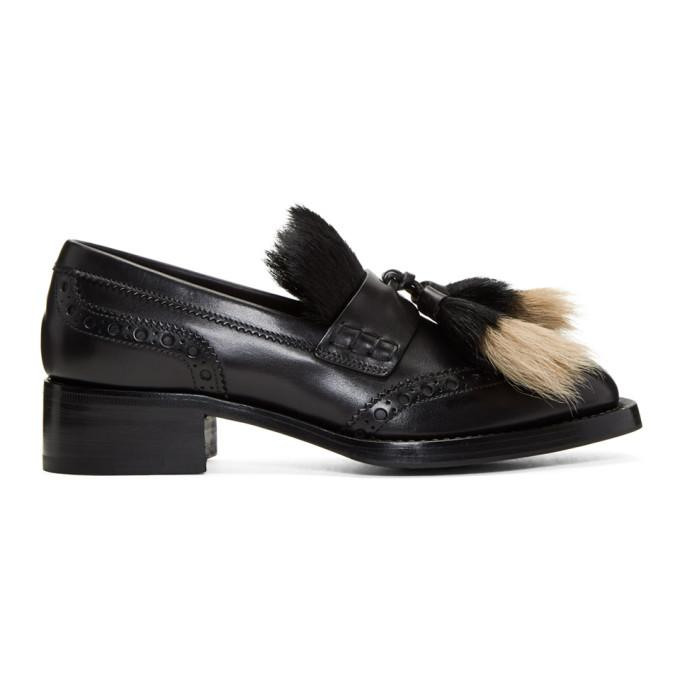 13138502da2 Prada Leather Loafers With Fur Tassels In Black