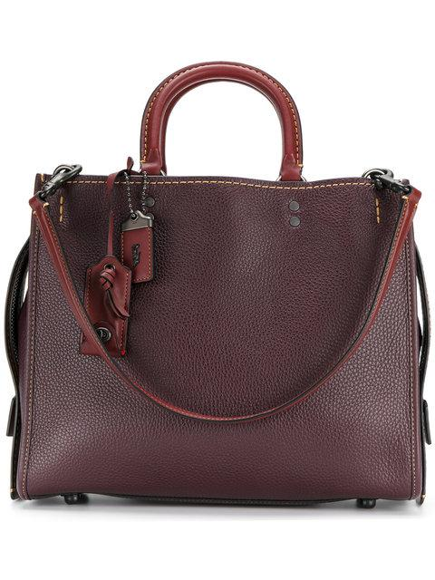 Coach 'rogue' Glovetanned Leather Shoulder Bag In : Black Copper/oxblood